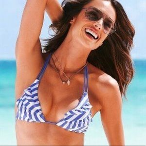 Victoria's Secret Ruffled Blue and White Swimsuit